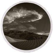 Sunset Over Sand Dunes Death Valley Round Beach Towel