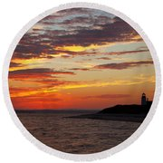 Sunset Over Sandy Neck Lighthouse Round Beach Towel