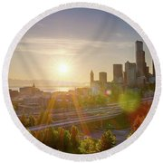 Sunset Over Seattle Downtown Skyline Round Beach Towel