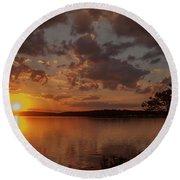 Sunset Over Shark River Round Beach Towel