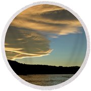Sunset Over South Island Of New Zealand Round Beach Towel