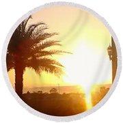 Sunset Over St Augustine Florida Round Beach Towel