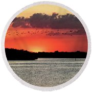 Sunset Over Tampa Bay 2 Round Beach Towel