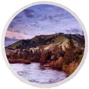 Sunset Over The American River Round Beach Towel