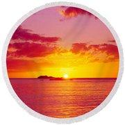 Sunset Over The, Atlantic Ocean, Cat Round Beach Towel