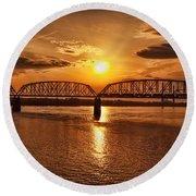 Sunset Over The Bridge Round Beach Towel