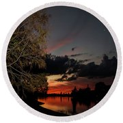 Sunset Over The Caloosahatchee Round Beach Towel