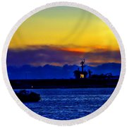 Sunset Over The Carl Vinson Round Beach Towel