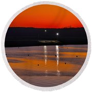 Sunset Over The Denison Dam Round Beach Towel