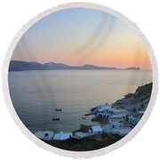 Sunset Over The Fishing Cove Of Klima On The Cycladic Island Of Milos Round Beach Towel