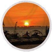 Sunset Over The Gulf 1 Round Beach Towel