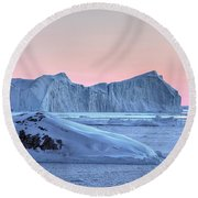 sunset over the Icefjord - Greenland Round Beach Towel