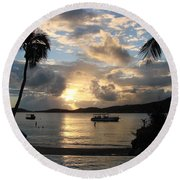 Sunset Over The Inifinity Pool At Frenchman's Cove In St. Thomas Round Beach Towel