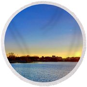 Sunset Over The Jefferson Memorial  Round Beach Towel