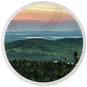 Sunset Over The Lakes Round Beach Towel