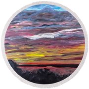 Sunset Over The Mississippi Round Beach Towel