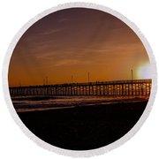 Sunset Over The Newport Beach Pier Round Beach Towel