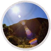 Sunset Over The Olgas Round Beach Towel