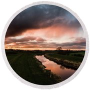 Sunset Over The River Wyre Round Beach Towel