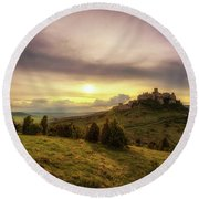 Sunset Over The Ruins Of Spis Castle In Slovakia Round Beach Towel