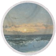 Sunset Over The Sea Round Beach Towel