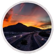 Sunset Over The Soda Mountains Round Beach Towel