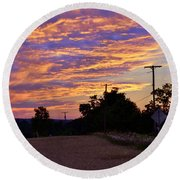 Sunset Over The Wheat Fields Round Beach Towel