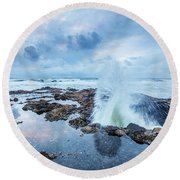 Sunset Over Thor's Well Round Beach Towel