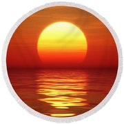 Sunset Over Tranqual Water Round Beach Towel