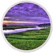 Sunset Over Turners Creek Savannah Tybee Island Ga Round Beach Towel