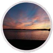 Sunset Over Wachusett Reservoir  Round Beach Towel