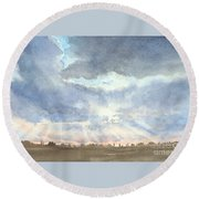 Sunset Over Wharton County Round Beach Towel