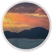 Sunset Over White Sands Round Beach Towel