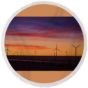 Sunset Over Windmills Field Round Beach Towel