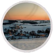 Sunset Over Winter Landscape Round Beach Towel