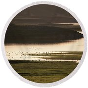 Sunset Over Yellowstone River In Yellowstone National Park Round Beach Towel