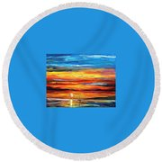 Sunset - Palette Knife Oil Painting On Canvas By Leonid Afremov Round Beach Towel