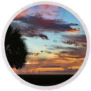 Sunset Palm Florida Round Beach Towel