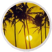 Sunset Palms And Family Round Beach Towel