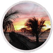 Sunset Palms At Sharky's On The Pier Round Beach Towel