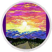 Sunset Pearblossom Highway Round Beach Towel