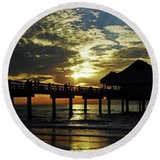 Sunset Pier Reflection Round Beach Towel