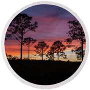 Sunset Pines Round Beach Towel