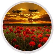 Sunset Poppies Fighter Command Round Beach Towel