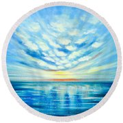 Sunset Quest Blue Round Beach Towel