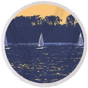 Sunset Race Round Beach Towel