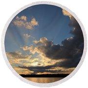 Sunset Rays On The Shore Round Beach Towel