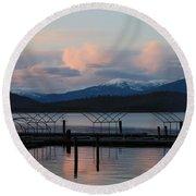 Sunset Reflecting Off Priest Lake Round Beach Towel