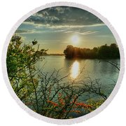 Sunset Reflection Round Beach Towel