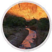 Sunset Reflection - Fremont River Round Beach Towel